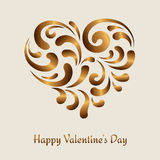 Swirly gold heart Stock Photos