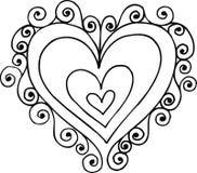 Swirly Heart Illustration. On white background royalty free illustration