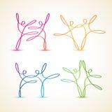 Swirly línea colorida figuras del baile libre illustration