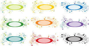 Swirly label. Nine in one generic swirly label,   illustration Stock Photography