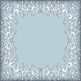 Swirly lace frame. Embroidery background, greeting card or wedding invitation template vector illustration