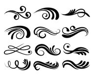Swirly line curl patterns isolated on white background. Vector f. Lourish vintage embellishments for greeting cards. Collection of filigree frame decoration vector illustration
