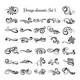Swirly line curl patterns  on white background. Vector flourish vintage embellishments for greeting cards. Collection of filigree frame decoration illustration Stock Photo