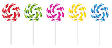 Swirly Lollipop. Vector Illustration of Swirly Lollipop in Various Colors Isolated on White Background royalty free illustration