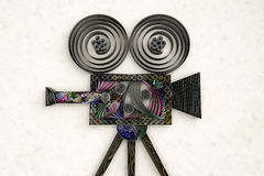 Swirly movie camera. 3D illustration of paper vintage movie camera Stock Photos