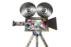 Swirly movie camera isolated on white. 3D illustration of paper vintage movie camera isolated on white Royalty Free Stock Photo