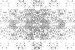 Swirly ornament. Abstract shining monochrome symmetric background. Fantasy fractal texture in black and white colors. Digital art. 3D rendering Stock Photos