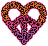 Swirly Peace Heart. Retro-styled heart and peace symbol design of swirly shapes in magenta, orange, purple and black stock illustration