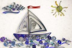 Swirly skepp royaltyfri illustrationer