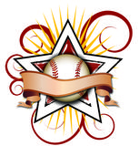 Swirly Star Baseball Illustration. A Star Logo With a baseball and Swirls that can be used for various backgrounds, sports or team logos, and other things that vector illustration
