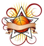 Swirly Star Basketball Illustration royalty free stock images