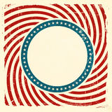Swirly stripes and stars USA grunge background. Vintage style aged USA themed grunge design with spiraling red and off white rays and center label with a blue vector illustration