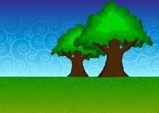 swirly tree vektor illustrationer