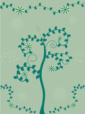 Swirly tree and flower background Royalty Free Stock Photos