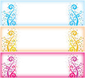 Swirly web headers. Illustration of the 3 different colour swirly banners, backgrounds or web headers vector illustration