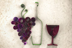 Swirly wine. 3D illustration of paper swirl wine Royalty Free Stock Photos