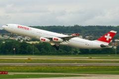 Swiss A340. Image can be used todepict different articles regarding this company Stock Photo