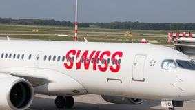 Budapest/Hungary-02.09.18 : Swiss air airline airplane airport switzerland. Swiss air airplane on the tarmac of budapest airport Royalty Free Stock Photo