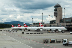 Swiss Air Airplanes Stock Images