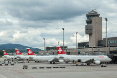 Swiss Air Airplanes Royalty Free Stock Image