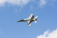 Swiss Air Force F/A-18 Hornet with condense streams Royalty Free Stock Photo