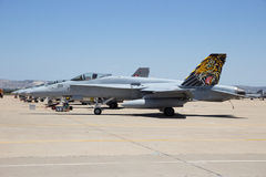 Swiss AIr Force F-18 Hornet fighter jet airplane Royalty Free Stock Photo