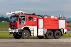 Swiss Air Force Iveco Marigus airport fire engine. Payerne, Switzerland - August 29, 2014: Swiss Air Force Iveco Marigus airport fire engine royalty free stock photography