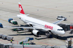 Swiss air parking Royalty Free Stock Photo