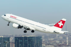 Swiss air take off Stock Photography