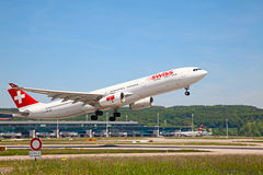 A-340 Swiss Air stock photos