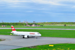 Swiss Airline Airbus A320-214 aircraft is taking-off from Pulkovo International airport in Saint-Petersburg, Russia Royalty Free Stock Photos