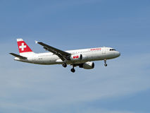 Swiss airlines aircraft. Airbus a320 Swiss airlines Approach at London Heathrow Airport royalty free stock photo