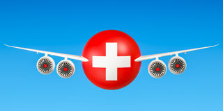 Swiss airlines and flying`s, flights to Switzerland concept. 3D Royalty Free Stock Images