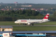 Swiss airways airplane at budapest airport hungary. Budapest, budapest/hungary - 24 04 18: swiss airways airplane at budapest airport hungary Royalty Free Stock Photo