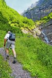 Swiss alpine hiking stock photo