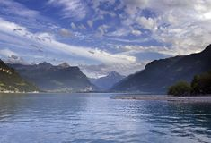 Swiss alpine lake. Mountain view in the Uri, Switzerland Royalty Free Stock Photo