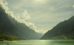 Swiss Alpine Lake Klontal Royalty Free Stock Photography