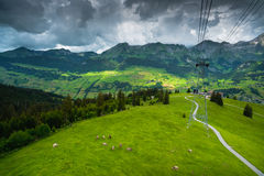 Swiss Alpine meadow aerial view. Under cable car way. Iltios mountain, Unterwasser, Canton St. Gallen, Switzerland Stock Photography