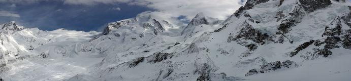 Swiss alpine panorama. With a glacier Royalty Free Stock Photos