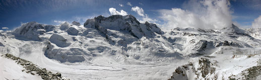 Swiss alpine panorama. With a glacier Royalty Free Stock Image