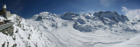 Swiss alpine panorama. With a glacier and an observatory Royalty Free Stock Image