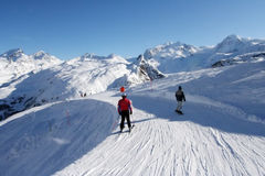 Swiss Alpine piste Royalty Free Stock Image