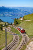 Swiss alpine railway Stock Photo