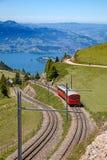 Swiss alpine railway Stock Photo