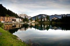 Swiss Alpine resort village royalty free stock image