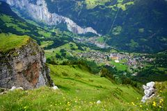 Swiss Alpine Village Stock Photos