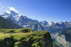 Swiss Alps. Scenic view of the Eiger, Monich and Jungfrau summits in the Swiss Alps (from Mannlichen view point stock photos