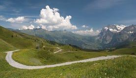 Swiss Alps. Wetterhorn, Schwarzhorn and Gletscherschlucht from Kleine Scheidegg Stock Photography