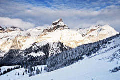 Swiss Alps. By winter season Royalty Free Stock Images