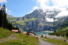 Swiss alps. Swiss mountain lake in the summer Stock Photography